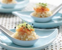 Lemon Risotto Spoons with Crab & Onion Sprouts