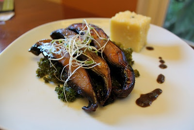 Orange Chipotle Portabello Mushrooms With Beer Braised Kale and Blue ...