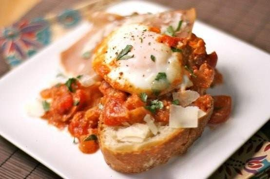 Eggs poached in chunky tomato sauce | Recipes | Pinterest