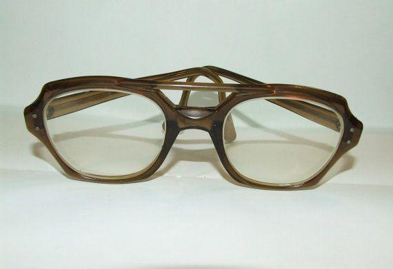 Eyeglass Frame Bars : VIntage Taupe Double Bar Safety Glasses-54/24 Eyeglass Frames