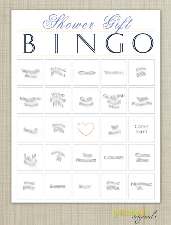 bridal bingo - This is the concept I was referring to. You just find a ...