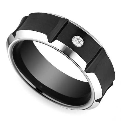 , strong lines of this comfort-fit Beveled Diamond Men's Wedding Ring ...