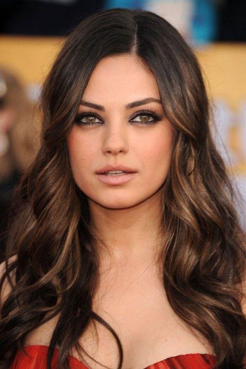 brunette hair Mila Kunis gorgeous highlights