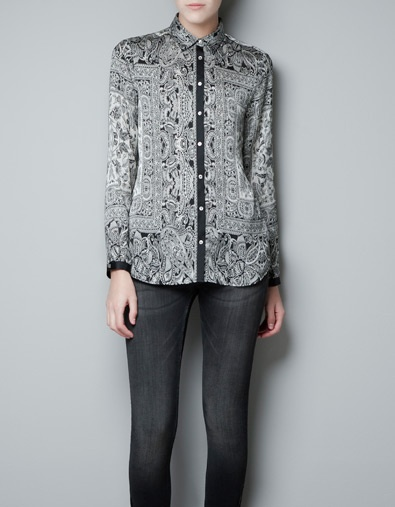 Zara Printed Blouse With Scarf 83