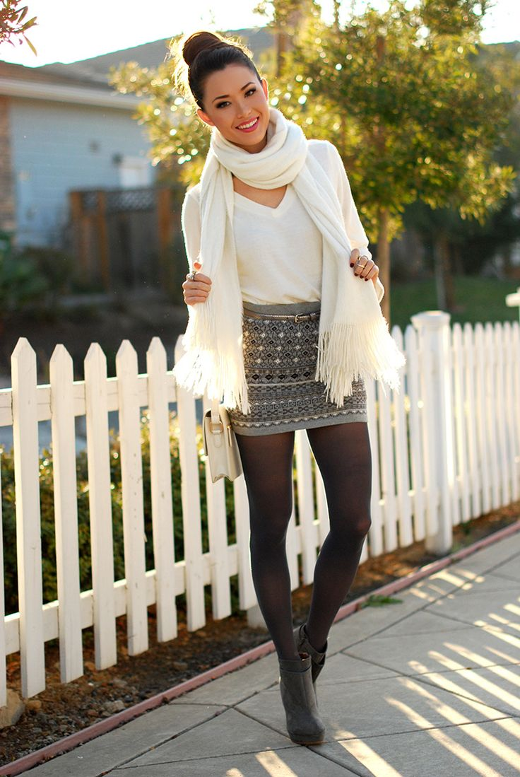 Forever 21 skirt, HauteLook sweater, Charlotte Russe scarf, Zara booties, Hue tights, Sheinside bag.