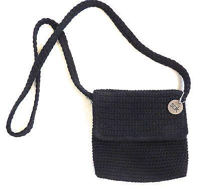 The Sak Black Crochet Handbag : The Sak Crochet Black Handbag 7 x 6 with 22 Strap Drop eBay