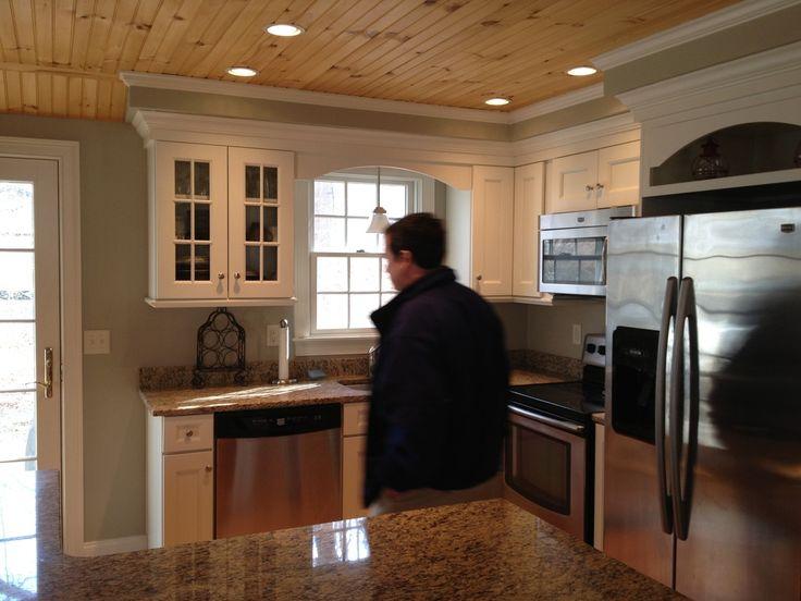 Kitchen ideas kitchen pinterest for Wood ceiling kitchen ideas