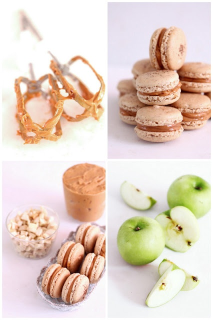 Cinnamon walnut macarons with apples and burnt caramel filling