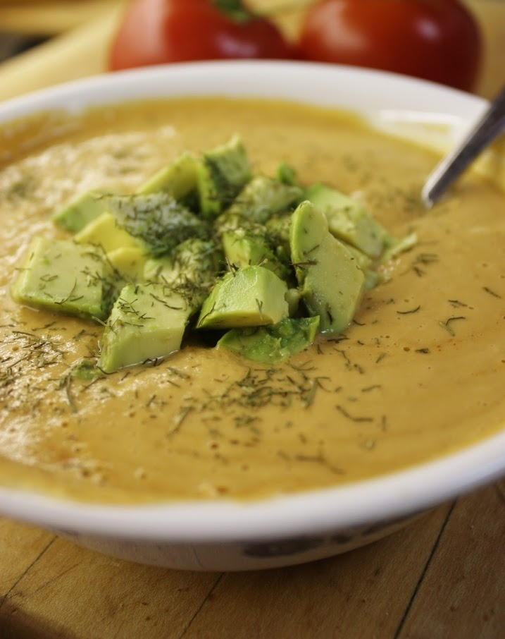 Sweet corn, Garlic & Tomato Soup with Avocado and Dill *Tomato *Corn ...