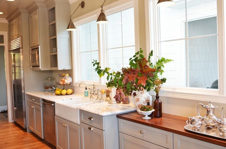 design with gray kitchen cabinets painted Benjamin Moore Fieldstone