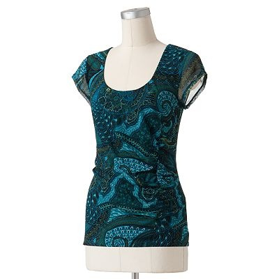 apt 9 paisley ruched mesh top clothes pinterest