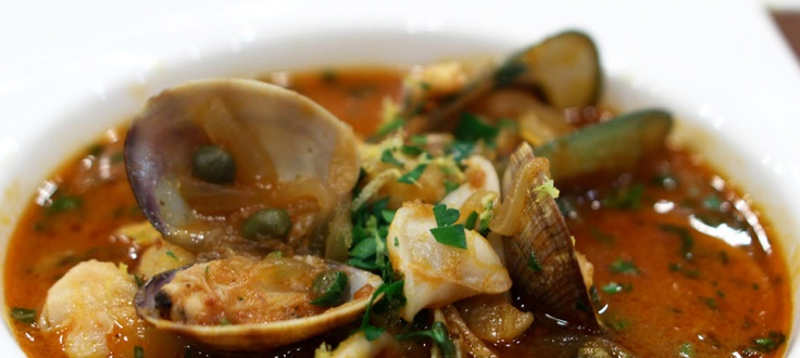 Hot Fish Stew with mussels, Clams, Calamari, Shrimp, Scallops, and Cod ...