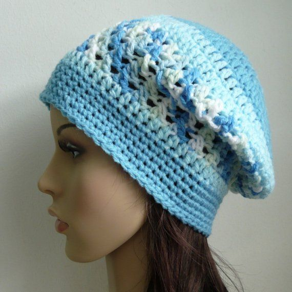 Crochet Slouchy Hat Patterns For Beginners : Beret Beanie Slouch Crochet Hat with Cross-stitch