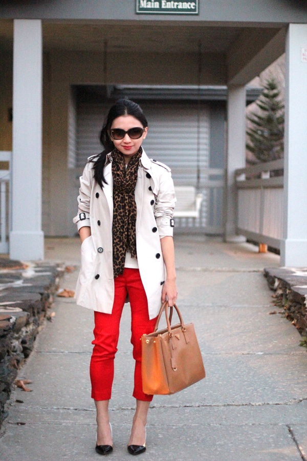 red cropped pants, leopard scarf, trench coat, outfit. Classic with a twist.