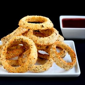 Baked Onion Rings flavored with seasoning, easy, low-fat, guilt-free ...
