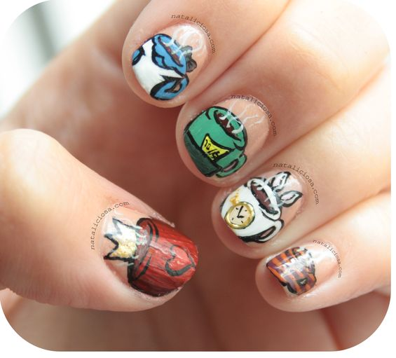 Alice in Wonderland Tea Cups Nails