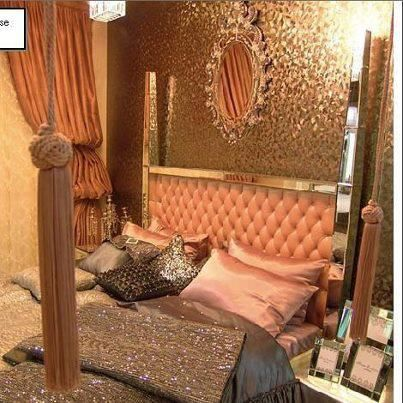 salmon pink and gold bedroom Home is with You
