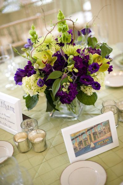 Purple and green centerpiece wedding inspiration