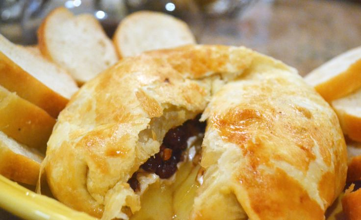 Baked Brie en Croute -- brie topped with dried cherries and pecans ...