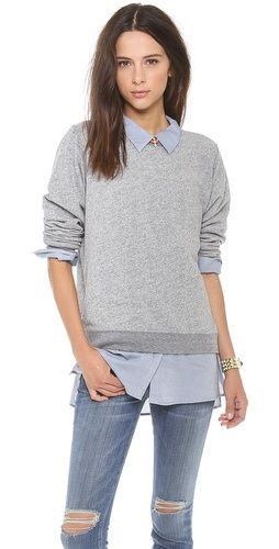 Love this sweater shirt combo fashion and beauty for Sweater and dress shirt combo