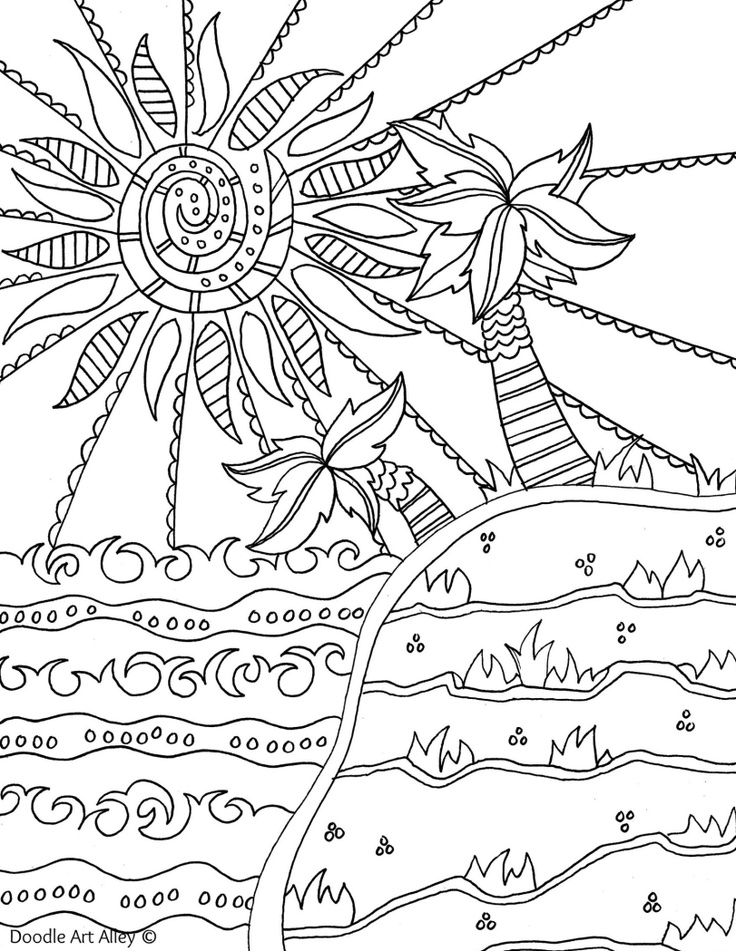 Beach printable coloring pages for adults beach best for Free beach coloring pages