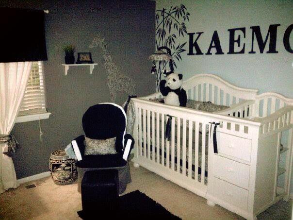 Black Gray White Paisley Boy Nursery Panda Bear Theme For