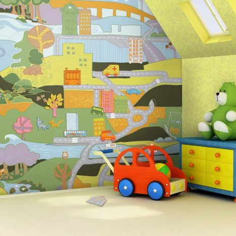 Maps wall painting ideas for kids bedroom walls design for 3d baby room design