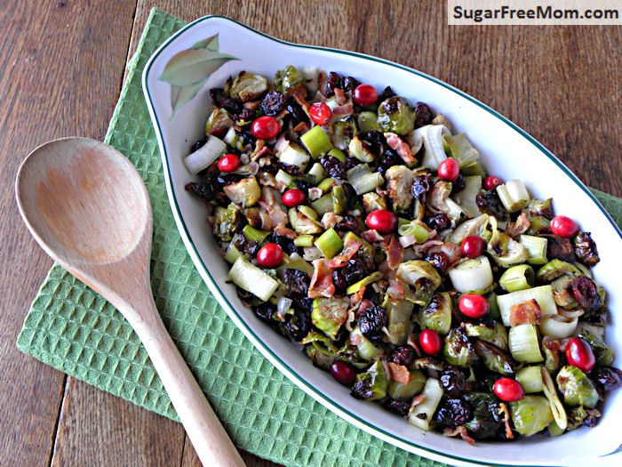 Roasted Brussels sprouts with leeks and bacon