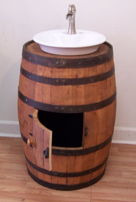 Authentic Whiskey Barrel With Porcelain Vessel Sink