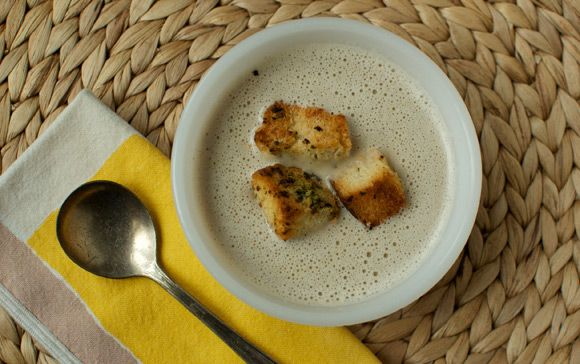 Roasted garlic soup with garlic herb croutons (but with mushroom broth ...