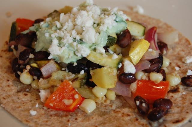 Vegetarian Tacos with Avocado Cream and Feta