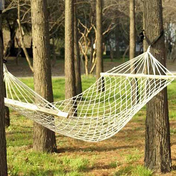 Backyard Hammock Bed : Cotton Rope Hammock Bed por Kiteland en Etsy, $4500  REGALOS DIA DE