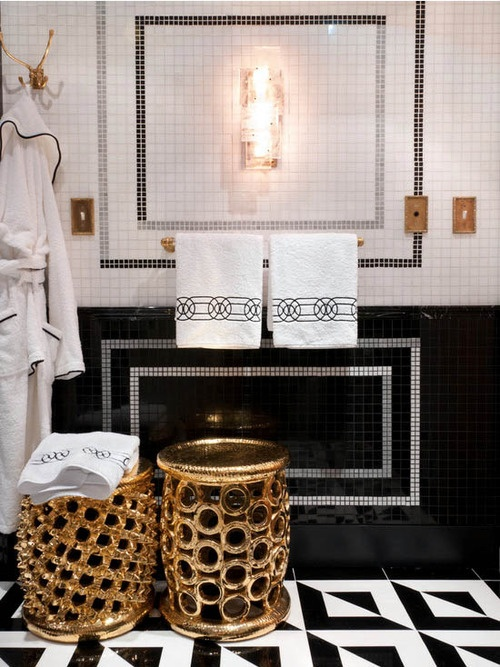 Brilliant 31 Black And Gold Bathroom Tiles Ideas And Pictures