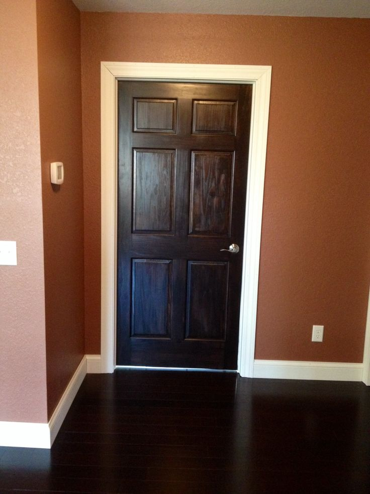 Dark Stained Door And White Trim Our Home Projects
