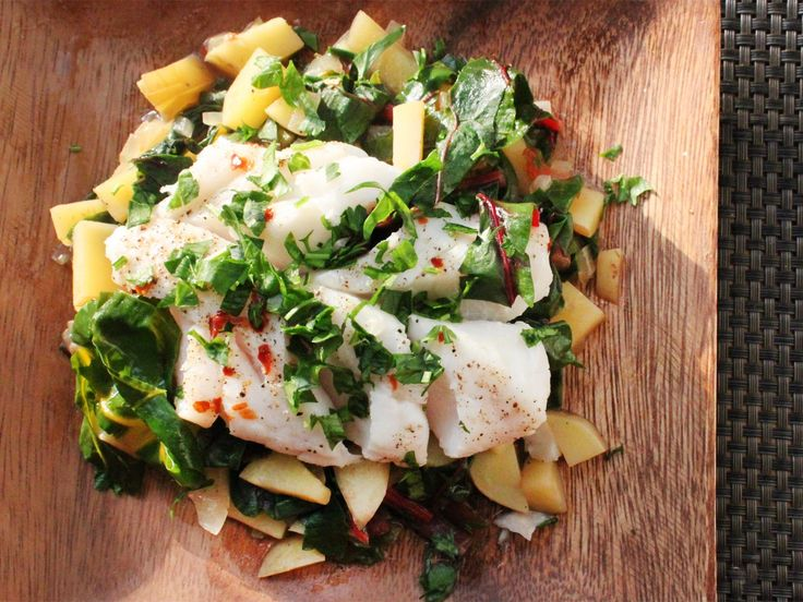 trying to cook with fish. Steamed Fish with Chard and Potato Hash ...
