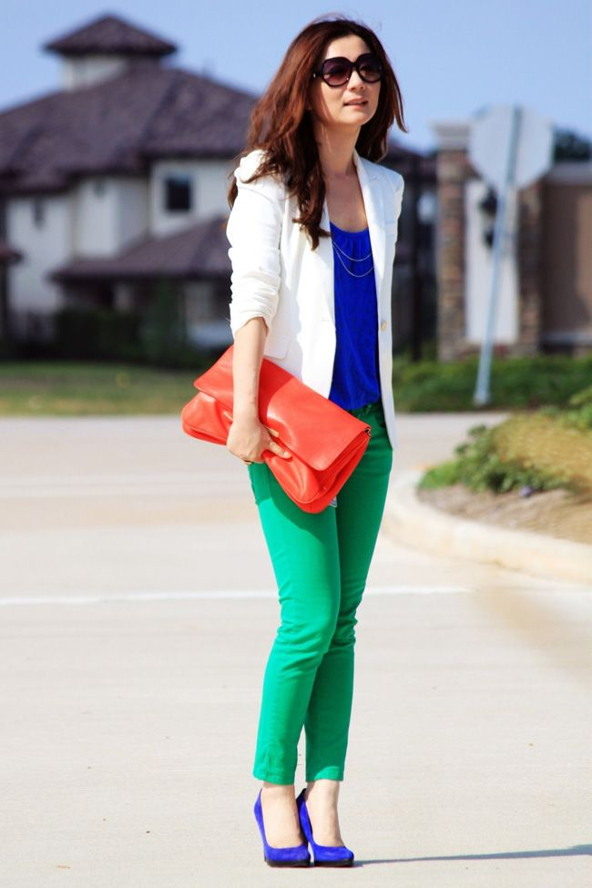 Limited white blazer + cobalt top + green pants + Steve Madden cobalt pumps