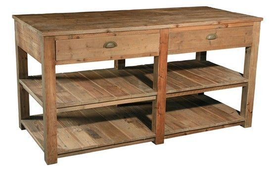 Reclaimed Pine Wood Kitchen Island Work Table