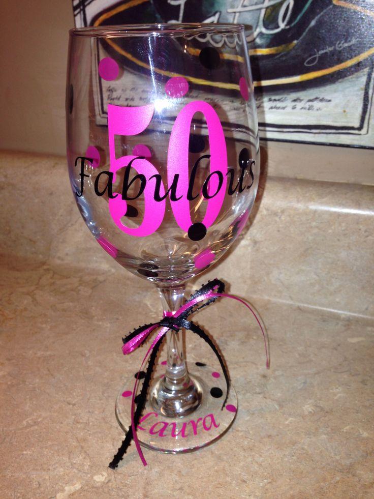 Custom Wine Glass ~ 50th Birthday