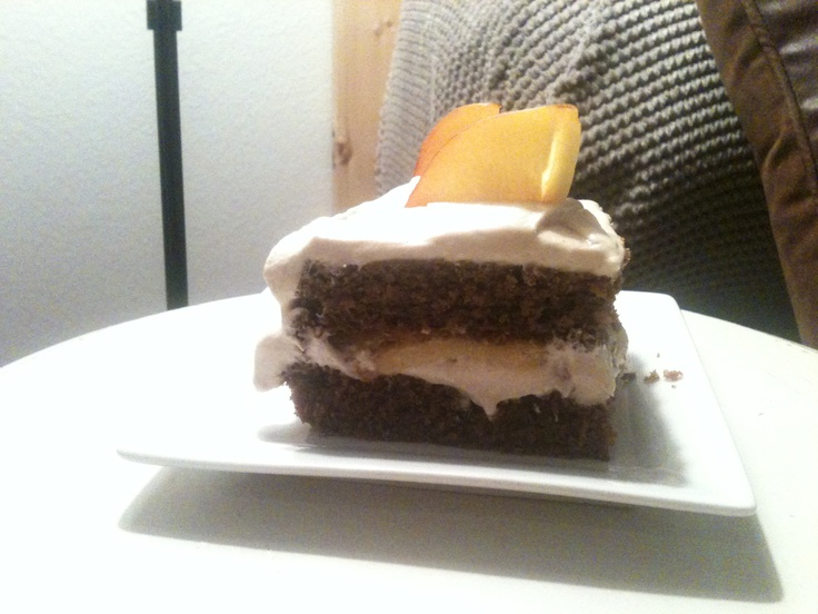 caramel and peach cake with whipped brown butter cream cheese frosting ...