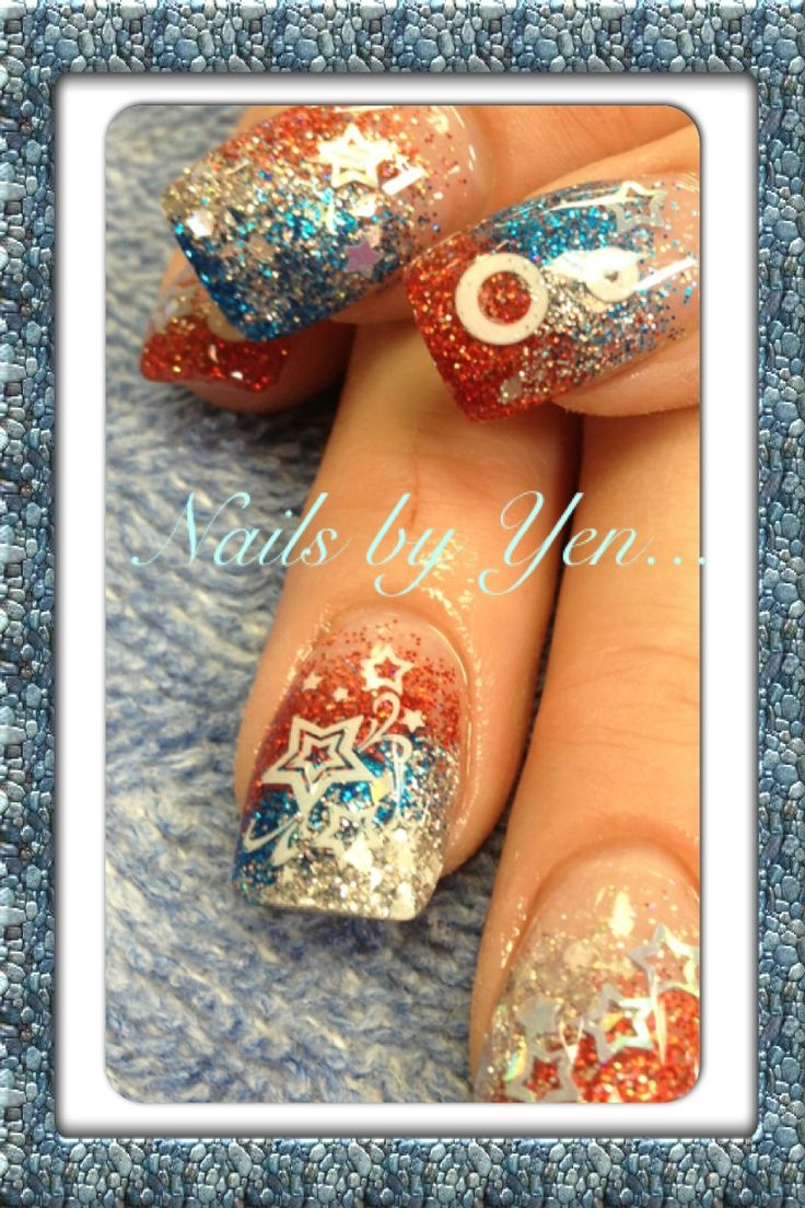 4th of July acrylic nail design. #encapsulation #inlays  | nail art