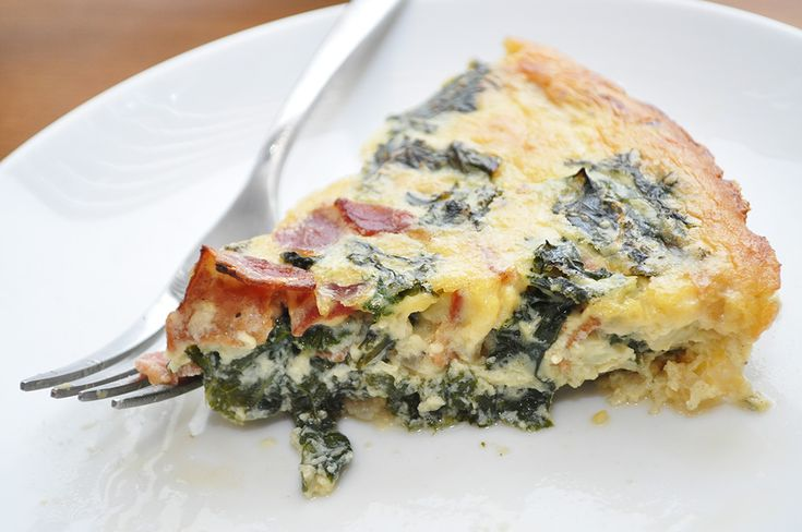 Dairy-Free Crustless Quiche with Bacon and Kale | Recipe