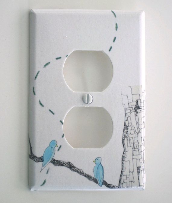 Blue Love Birds Decorative Light Switch Cover Plate Outlet
