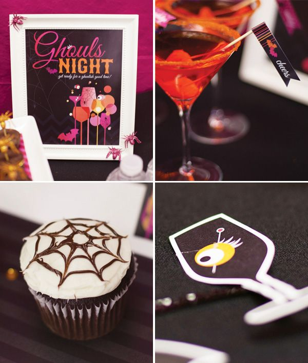 Ghouls Night Pink Orange Halloween Cocktail Party
