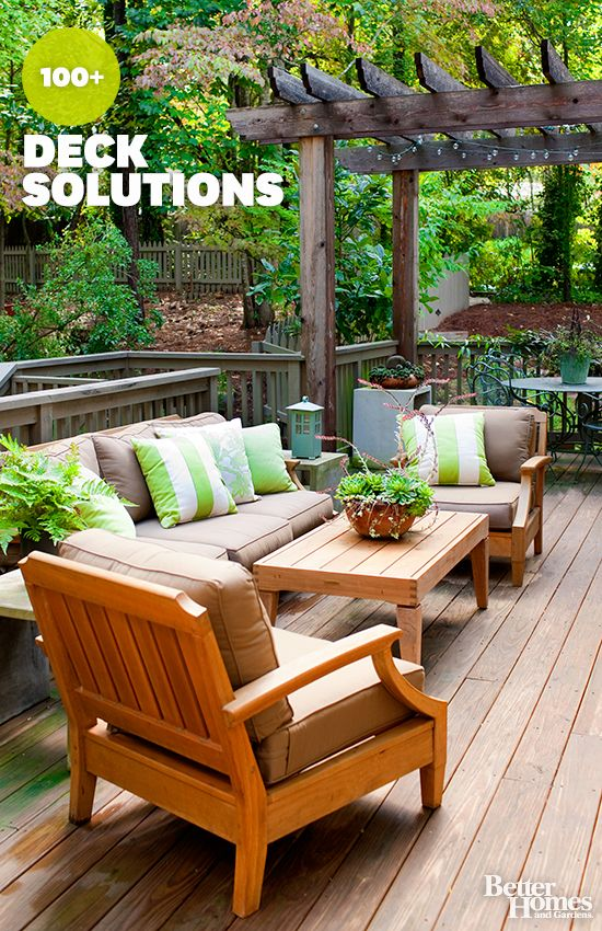 Pin by better homes and gardens on pretty patios and porches pinter - Decking furniture ideas ...
