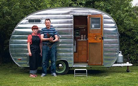 A 1954 Cardinal Travel Trailer, or 'Canned Ham' as it is known