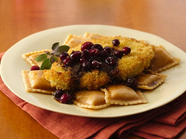 Turkey Scallopini and Squash Ravioli with Cranberry Brown Butter | Re ...