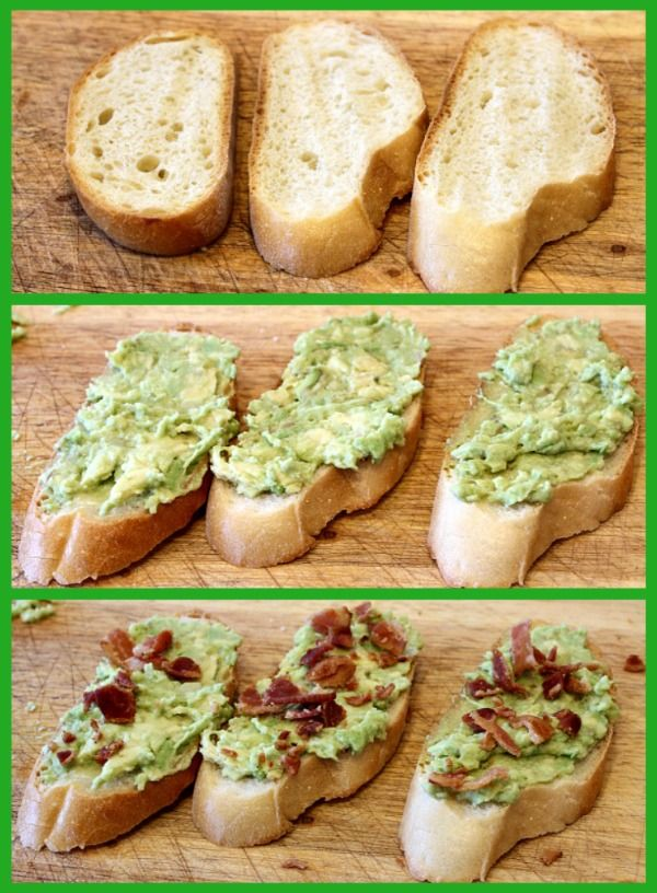 Avocado bacon toast - 4 easy steps. Slice French bread on diagonal and ...