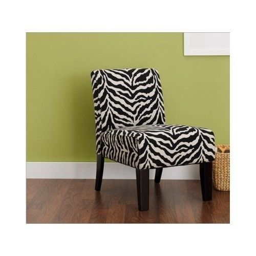 Zebra Print Chair Accent Modern Living Room Bedroom Contemporary Furn