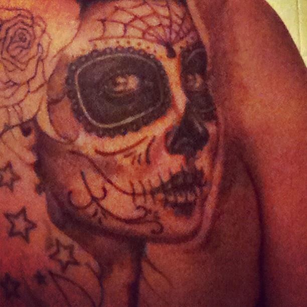 My sugar skull back cover in progress. | Tattoo | Pinterest