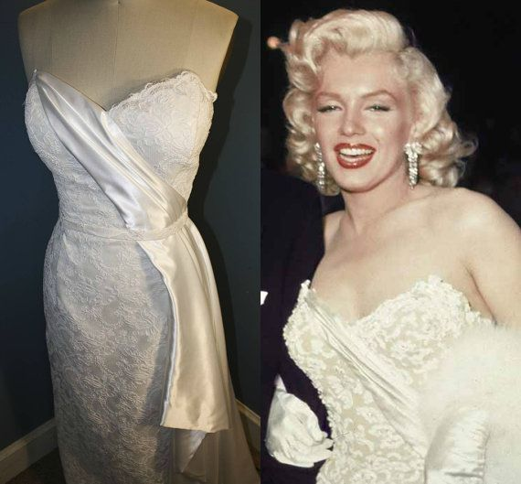 marilyn monroewedding dress pinup 1950s lace column